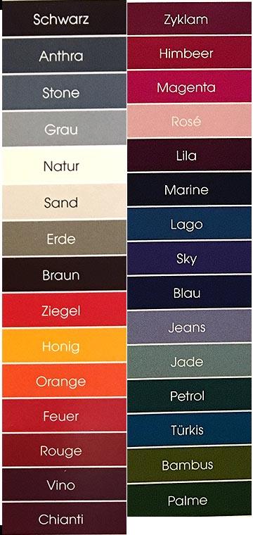 Farbkarte Lochmuster der Firma Invero, 30 Farben