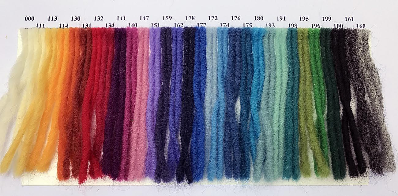 Strickwollemuster auf Papier Merino-Texel naturfarben und gefärbt