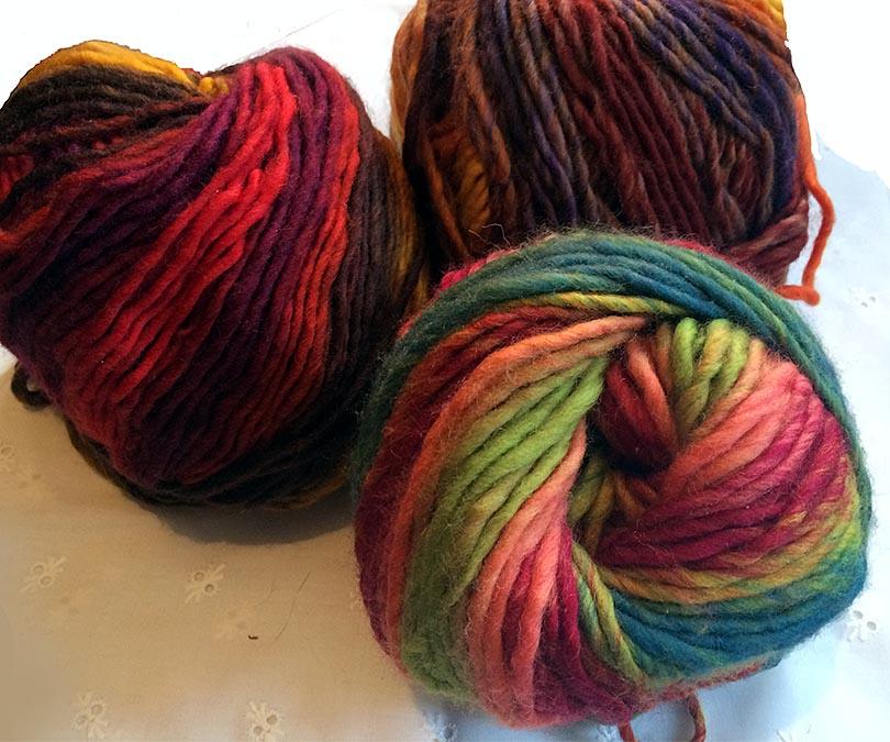 dickes einfädiges Dochtgarn mit Farbverlauf, warme Farben